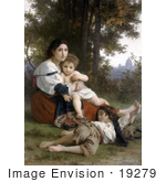 #19279 Photo Of A Woman And Her Two Children Resting By Trees Rest By William-Adolphe Bouguereau