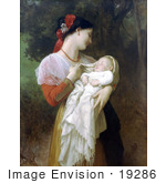 #19286 Photo Of A Young Mother Holding Her Baby Maternal Admiration By William-Adolphe Bouguereau