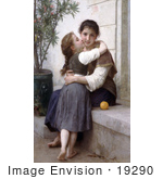 #19290 Photo Of A Girl Kissing Her Mom'S Cheek A Little Coaxing By William-Adolphe Bouguereau