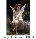 #19296 Photo Of Cupid Seated With Bow And Arrows Love On The Look Out By William-Adolphe Bouguereau