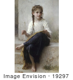 #19297 Photo Of A Little Girl Sewing By William-Adolphe Bouguereau