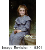 #19304 Photo Of A Little Girl Picking Daisy Flowers By William-Adolphe Bouguereau