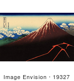 #19327 Photo Of A Lightning Storm Near Mt Fuji A Shower Below The Summit By Katsushika Hokusai