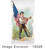#19328 Photo Of A Patriotic Boy Leaning An American Flag Pole On His Chest Clenching His Fists