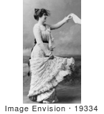 #19334 Photo Of A Woman In A Lace Dress Waving Farewell With A Handkerchief While Standing On A Beach