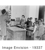 #19337 Photo Of Students And Teacher In A Classroom Pledging Allegience To The American Flag
