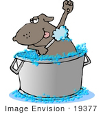 #19377 Dog In A Tub Scrubbing His Arm Pits With A Loofah Sponge While Taking A Bubble Bath Clipart