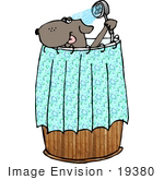 #19380 Dog Taking A Shower In A Wooden Barrel Clipart