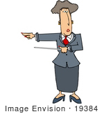 #19384 Business Woman Pointing To The Left With A Pointer Stick Clipart