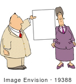 #19388 Business Man And Woman Standing By A Blank Sign Clipart