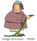 #19391 Woman With Her Hair In Curlers Wearing A Robe Using A Water Hose Clipart