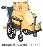 #19440 Fat Orange Tabby Cat In A Wheelchair Clipart