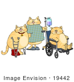 #19442 Three Cats In A Hospital With Crutches Iv And Wheelchair Clipart