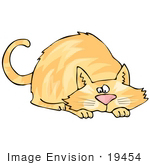 #19454 Orange Cat In A Crouching Position About To Pounce On A Toy Or Prey Clipart
