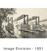 #1951 Stock Photography Of Three Racing Steamboats On The Mississippi River