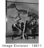 #19611 Photo of Men Holding Punt Guns by a Duck Billed Reptile Dinosaur Skeleton in a Museum, 1920s by JVPD