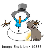 #19883 Clipart Ilustration Of A Dog Sitting By A Snowman That He Just Urinated On