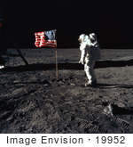 #19952 Stock Picture of Astronaut Buzz Aldrin by an American Flag on the Moon by JVPD