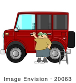 #20063 Man Standing A Ladder By His Big Red Hummer Car Clipart