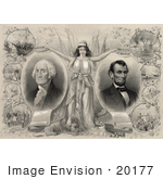 #20177 Stock Photo Of Columbia Wtih Abraham Lincoln And George Washington