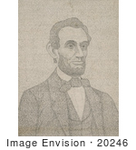 #20246 Historical Stock Photography: The Biography Of Abraham Lincoln With His Portrait Made Of Darker Text Over A Full Page Of Writing