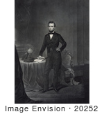 #20252 Historical Stock Photography: Abraham Lincoln Standing By A Table His Hand Resting On Paperwork