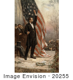 #20255 Historical Stock Photography: Abraham Lincoln Holding The Rope To An American Flag