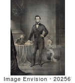 #20256 Historical Stock Photography: Abraham Lincoln Standing By A Table
