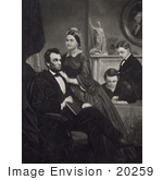#20259 Historical Stock Photography: Abraham Lincoln Mary Todd And Thomas And Robert Todd At Home
