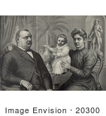 #20300 Historical Stock Photo Of President Grover Cleveland Wife And Daughter