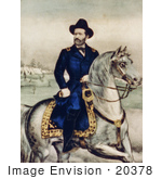 #20378 Historical Stock Photo Of Union Lieutenant General Ulysses S Grant On A White Horse