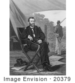 #20379 Historical Stock Photo Of Union General Ulysses S Grant Seated In A Camp