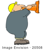 #20508 Clipart Of A Man In A Hardhat Talking Through A Construction Cone
