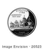 #20523 Stock Photography Of The Ships Susan Constant Godspeed And Discovery Bringing The First English Settlers To Jamestown On The Virginia State Quarter