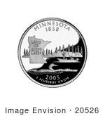 #20526 Stock Photography Of People Fishing On A Lake A Loon And State Outline On The Minnesota State Quarter