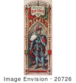 #20726 Stock Photography Of A Vintage Medicine Label Of A Knight In Armor For A Red Cross Bitters