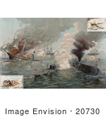 #20730 Stock Photography Of Ironclad Warships The Uss Monitor And Uss Merrimac During The Battle Of Hampton Roads