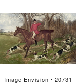 #20731 Stock Photography Of A Man Fox Hunting On Horseback Surrounded By Dogs