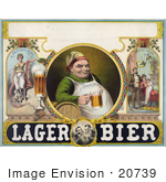 #20739 Stock Photography Of A Vintage Lager Bier Advertisement Of A Man Drinking A Frothy Mug Of Beer