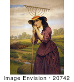 #20742 Stock Photography Of Maud Miller Leaning On A Hay Rake