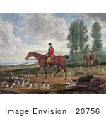 #20756 Stock Photography Of Two Men On Horseback Fox Hunting With Dogs