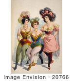 #20766 Stock Photography Of Three Chorus Girls In Tights And Feathered Hats