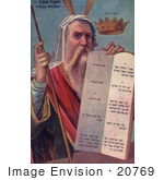 #20769 Stock Photography Of Moses Holding The Ten Commandment Tablets