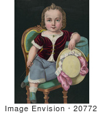 #20772 Stock Photography Of The Color Version Of A Little Boy Or Girl Sitting In A Chair Holding A Riding Crop And Hat