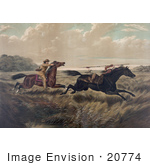 #20774 Stock Photography Of A White Man Chasing A Native American Indian Both On Horseback