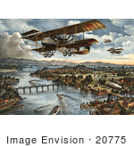 #20775 Stock Photography Of A War Biplane Over Vladivostok During The World War