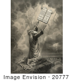 #20777 Stock Photography Of Moses Kneeling While Receiveing The Tablets Of The Ten Commandments From God