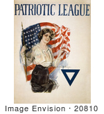 #20810 Stock Photography Of A Young Patriotic Woman With A Blue Triangle And American Flag On A Vintage Patriotic League Wwi Poster