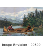 #20829 Stock Photography Of A Hunting Dog Swimming By A Rowboat With Two Men One Aiming A Rifle At A Deer