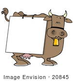 #20845 Brown Cow With A Sign On It Clipart